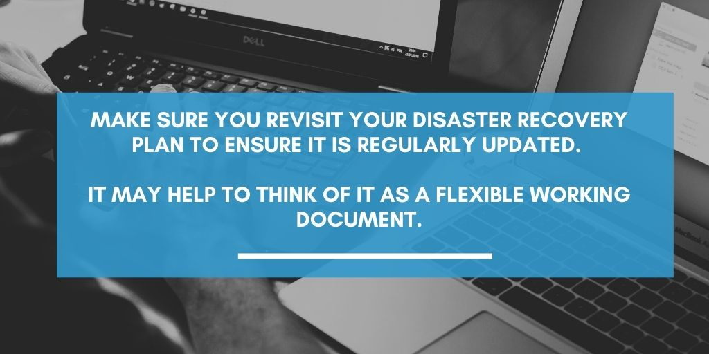 Graphic stating that DR plans need to be regularly updated. Lucid Systems work with clients in Suffolk to ensure their Disaster Recovery plans are in place